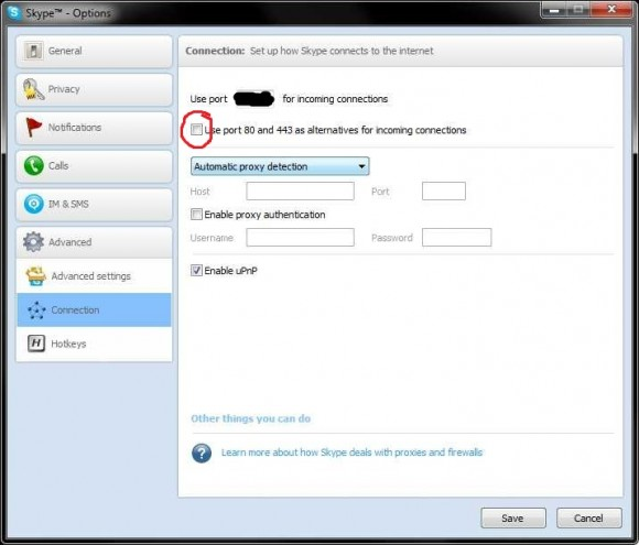 Skype setting to use TCP ports 80 and 443